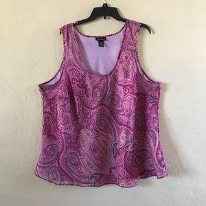 Lane Bryant - purple - sheer overlay - tank top